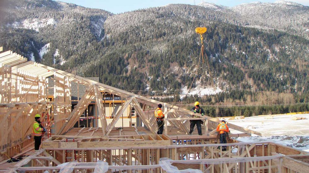 The Falls Cheakamus tilt-up concrete construction in Whistler, including steel and wood framing